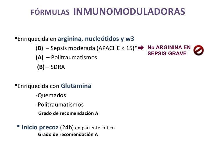 <ul><li>Enriquecida en  arginina, nucleótidos y w3  </li></ul><ul><li>( B)  – Sepsis moderada (APACHE < 15)* </li></ul><ul...
