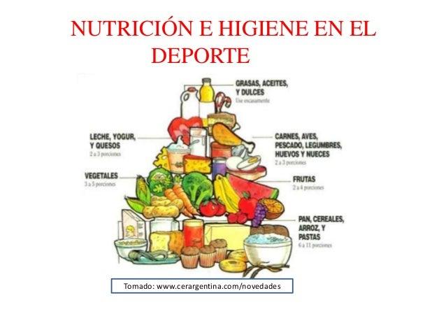 NUTRICIÓN E HIGIENE EN EL DEPORTE Tomado: www.cerargentina.com/novedades