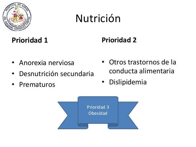 Nutrición Prioridad 1 • Anorexia nerviosa • Desnutrición secundaria • Prematuros Prioridad 2 • Otros trastornos de la cond...