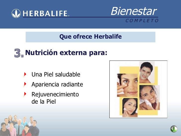Que ofrece Herbalife <ul><li>Una Piel salud able </li></ul><ul><li>Apariencia radiante </li></ul><ul><li>Rejuvenecimiento ...