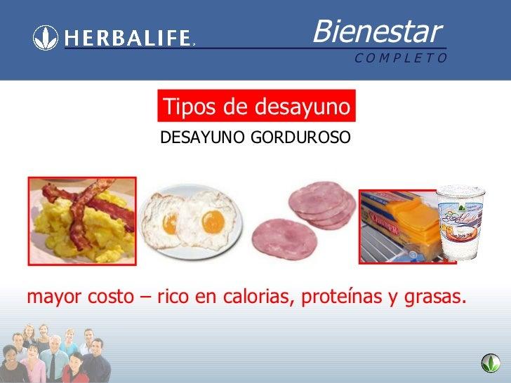 mayor costo – rico en calorias, proteínas y grasas. Tipos de desayuno DESAYUNO GORDUROSO