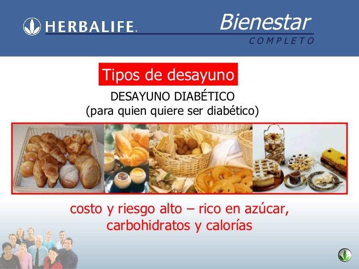 Tipos de desayuno DESAYUNO DIABÉTICO (para quien quiere ser diabético) costo y riesgo alto – rico en azúcar, carbohidratos...