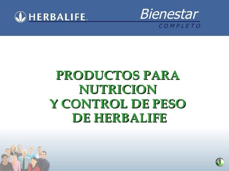 PRODUCTOS PARA  NUTRICION  Y CONTROL DE PESO  DE HERBALIFE
