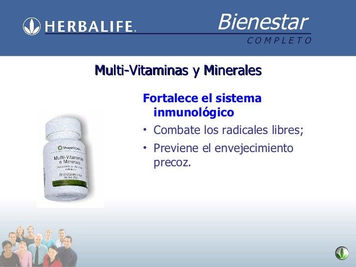 Multi-Vitaminas y Minerales <ul><li>Fortalece el sistema inmunológico </li></ul><ul><li>Combate los radicales libres; </li...