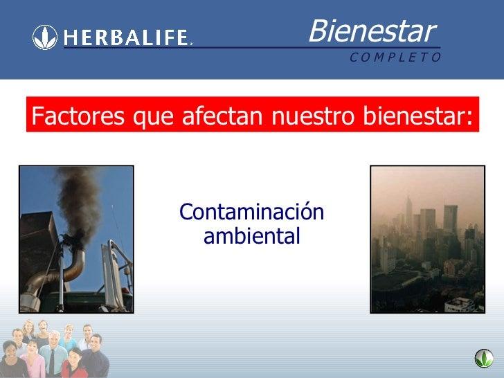 Contaminación ambiental Factores que afectan nuestro bienestar :