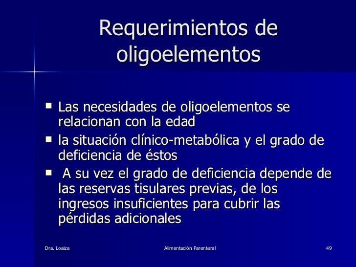Requerimientos de oligoelementos <ul><li>Las necesidades de oligoelementos se relacionan con la edad  </li></ul><ul><li>la...