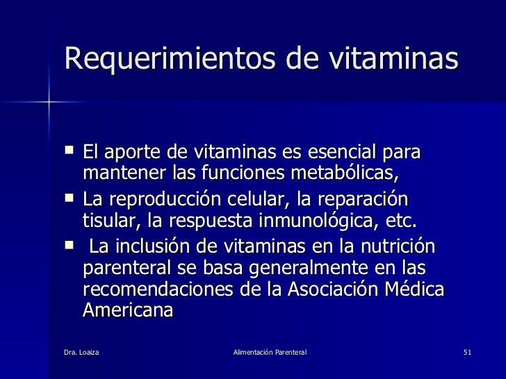 Requerimientos de vitaminas <ul><li>El aporte de vitaminas es esencial para mantener las funciones metabólicas,  </li></ul...