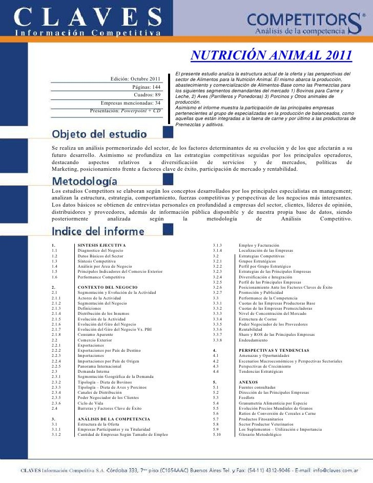 NUTRICIÓN ANIMAL 2011                                                          El presente estudio analiza la estructura a...