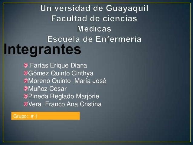 Farías Erique Diana Gómez Quinto Cinthya Moreno Quinto María José Muñoz Cesar Pineda Reglado Marjorie Vera Franco Ana Cris...