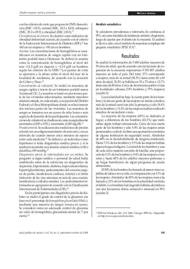 385salud pública de méxico / vol. 50, no. 5, septiembre-octubre de 2008 Adultos mayores: salud y nutrición ARTÍCULO ORIGIN...