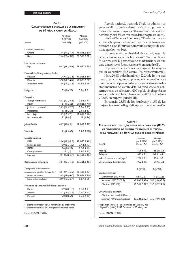 ARTÍCULO ORIGINAL 386 salud pública de méxico / vol. 50, no. 5, septiembre-octubre de 2008 Shamah-Levy T y col. Cuadro I C...