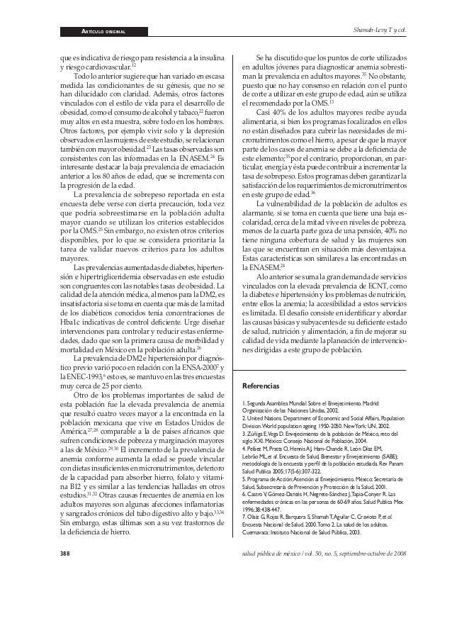ARTÍCULO ORIGINAL 388 salud pública de méxico / vol. 50, no. 5, septiembre-octubre de 2008 Shamah-Levy T y col. que es ind...