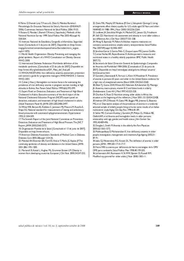 389salud pública de méxico / vol. 50, no. 5, septiembre-octubre de 2008 Adultos mayores: salud y nutrición ARTÍCULO ORIGIN...