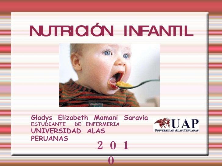 NUTRICIÓN  INFANTIL Gladys  Elizabeth  Mamani  Saravia ESTUDIANTE  DE  ENFERMERIA  UNIVERSIDAD  ALAS  PERUANAS 2010