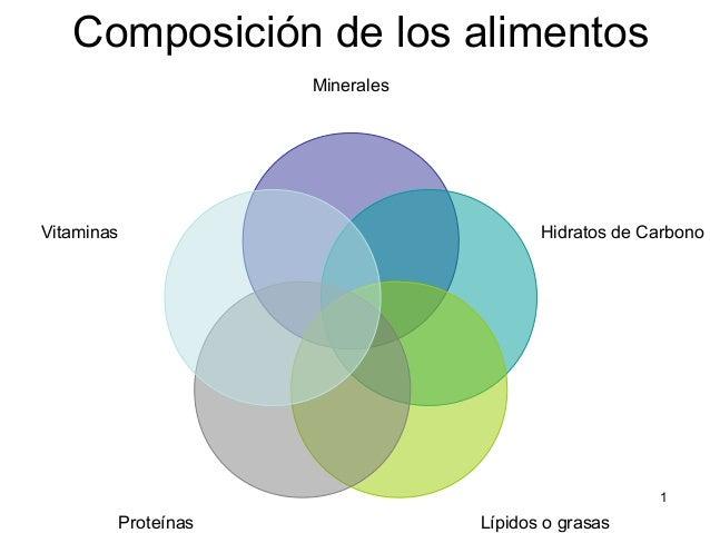 1  Composición de los alimentos  Minerales  Hidratos de Carbono  Proteínas Lípidos o grasas  Vitaminas