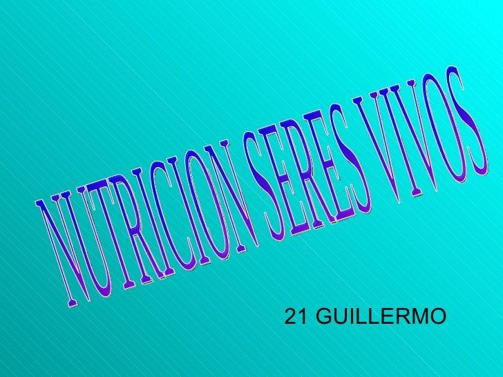 <ul><li>21 GUILLERMO </li></ul>NUTRICION SERES VIVOS