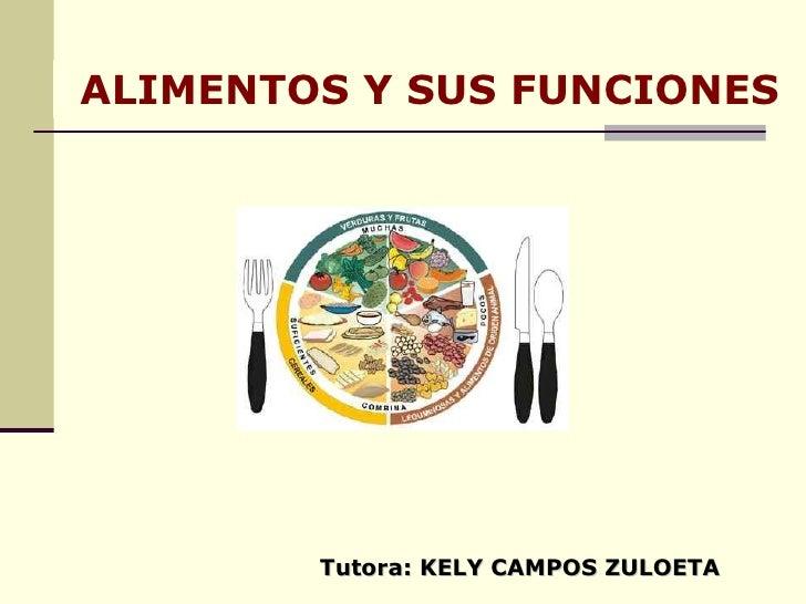 ALIMENTOS Y SUS FUNCIONES Tutora: KELY CAMPOS ZULOETA