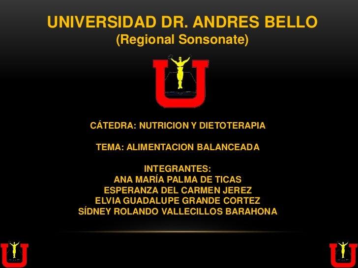 UNIVERSIDAD DR. ANDRES BELLO         (Regional Sonsonate)     CÁTEDRA: NUTRICION Y DIETOTERAPIA      TEMA: ALIMENTACION BA...