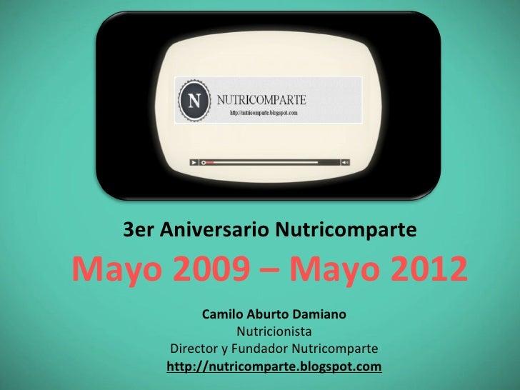 3er Aniversario NutricomparteMayo 2009 – Mayo 2012            Camilo Aburto Damiano                  Nutricionista      Di...