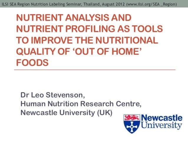 ILSI SEA Region Nutrition Labeling Seminar, Thailand, August 2012 (www.ilsi.org/SEA _Region)       NUTRIENT ANALYSIS AND  ...