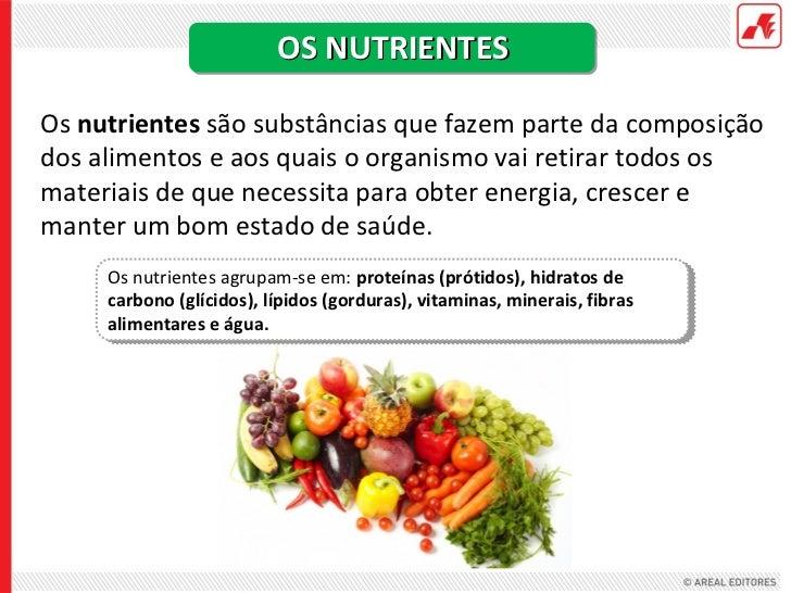 OS NUTRIENTESOs nutrientes são substâncias que fazem parte da composiçãodos alimentos e aos quais o organismo vai retirar ...