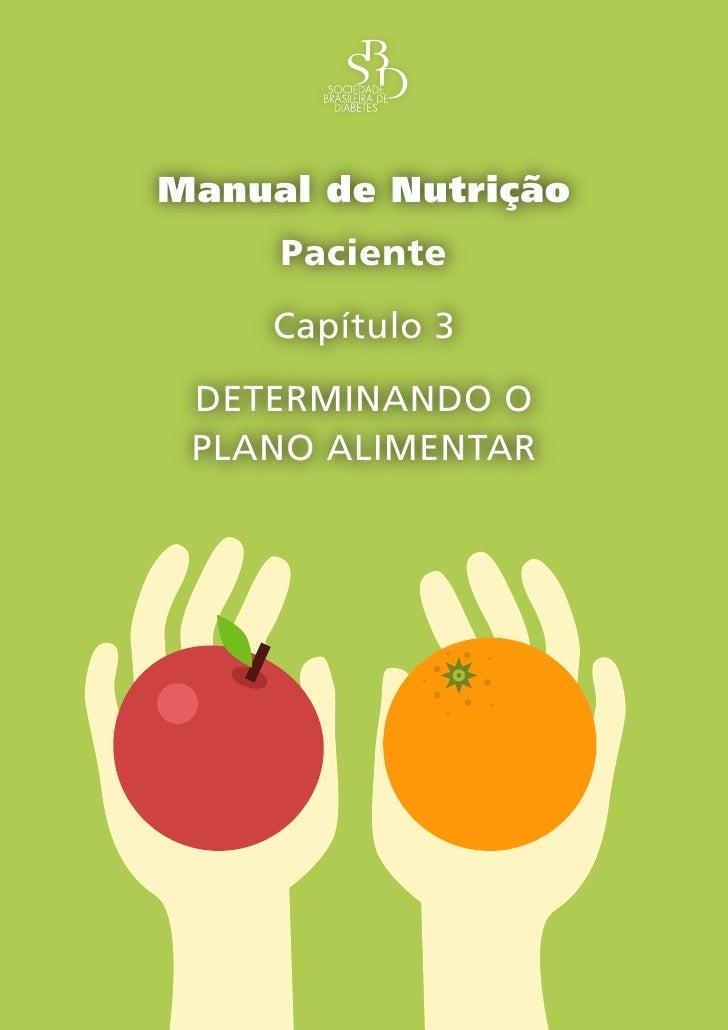 Capítulo 3 – Determinando o plano alimentar –      Manual de Nutrição      Paciente      Capítulo 3  DETERMINANDO O  PLANO...