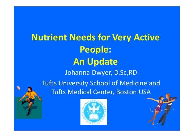 Nutrient Needs for Very Active  People:  An Update  Johanna Dwyer, D.Sc,RD  Tufts University School of Medicine and  Tufts...