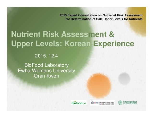 Nutrient Risk Assessment & Upper Levels: Korean Experience BioFood Laboratory Ewha Womans University Oran Kwon 2015 Expert...