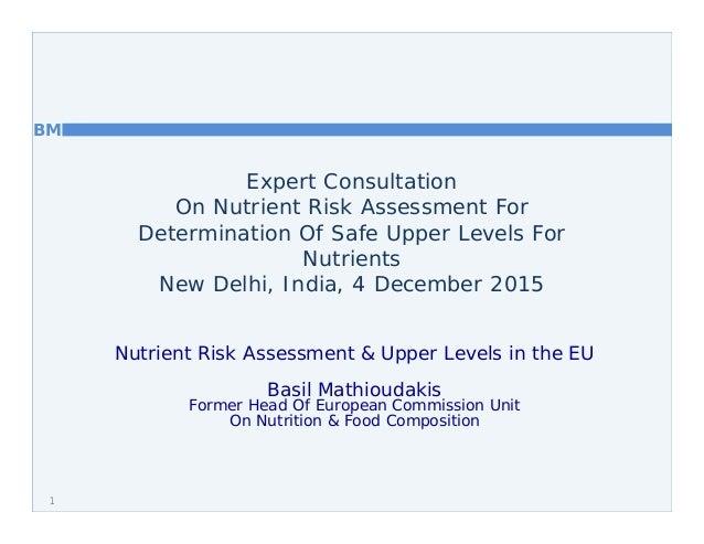 BM Expert Consultation On Nutrient Risk Assessment For Determination Of Safe Upper Levels For Nutrients New Delhi, India, ...