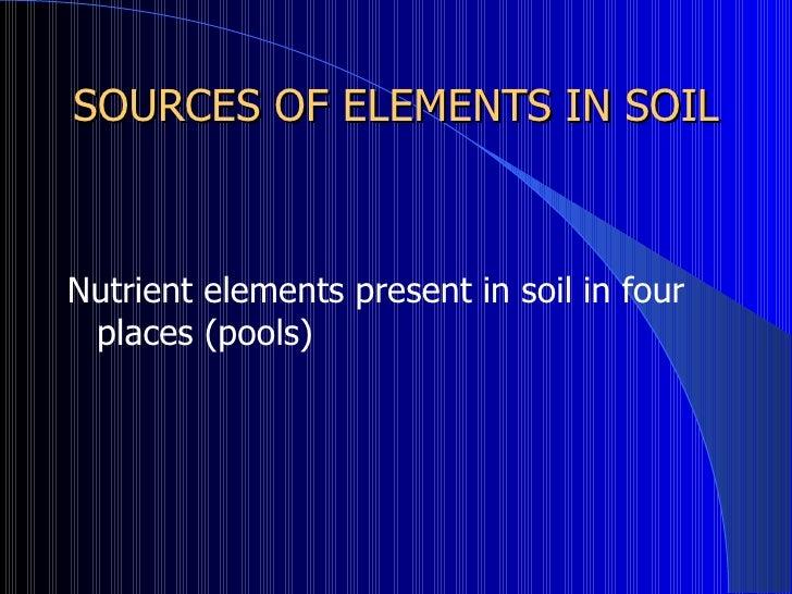 Nutrients soil fertility for Minerals present in soil