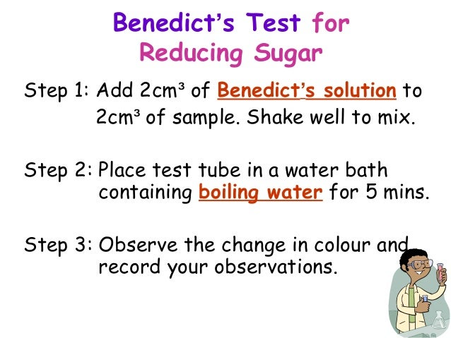 test for reducing sugars benedicts test essay The benedict's test is for testing the presence of simple sugars in  benedict's  test for reducing sugar essay - benedict's test – reducing sugars.