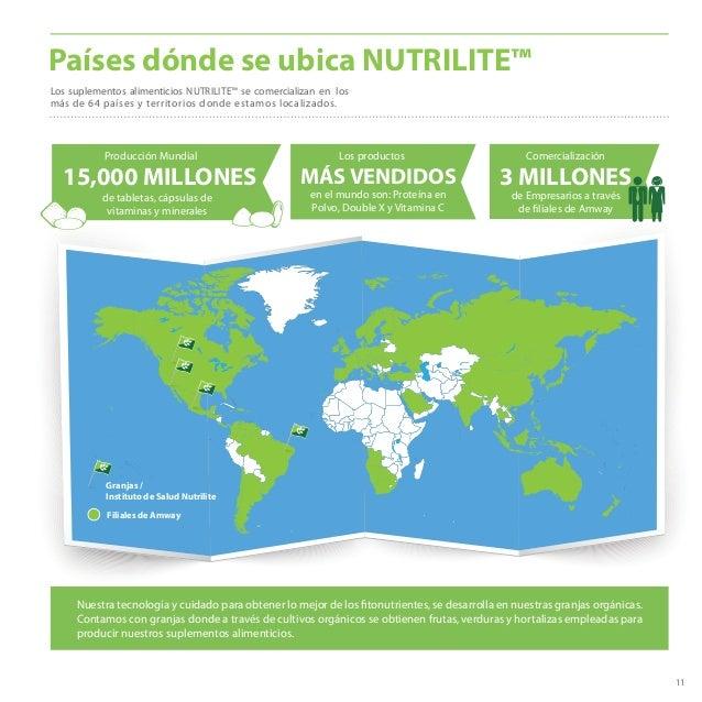 11 Países dónde se ubica NUTRILITE™ Los suplementos alimenticios NUTRILITE™ se comercializan en los más de 64 países y ter...