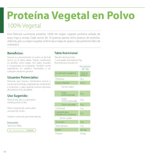 32 Proteína Vegetal en Polvo Presentación: Tarro con 450g Niños entre dos y cuatro años: media porción al día. Niños mayor...