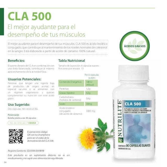 34 El mejor ayudante para el desempeño de tus músculos. CLA 500 es ácido linoléico conjugado,quecontribuyealmantenimientod...