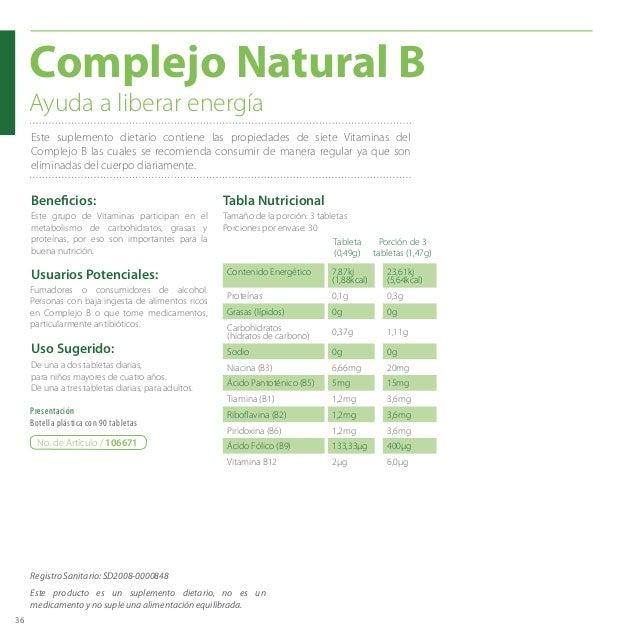 36 Beneficios: Usuarios Potenciales: Complejo Natural B De una a dos tabletas diarias, para niños mayores de cuatro años. ...