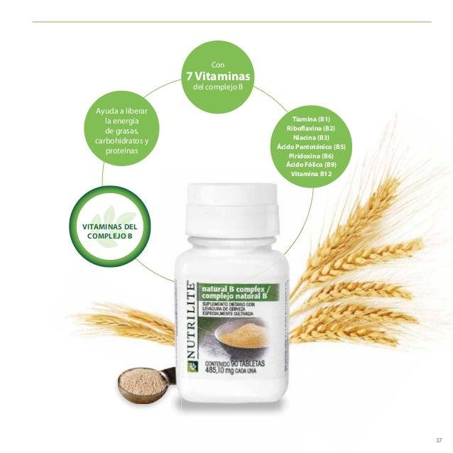 37 Ayuda a liberar la energía de grasas, carbohidratos y proteínas Con 7 Vitaminas del complejo B Tiamina (B1) Riboflavina...