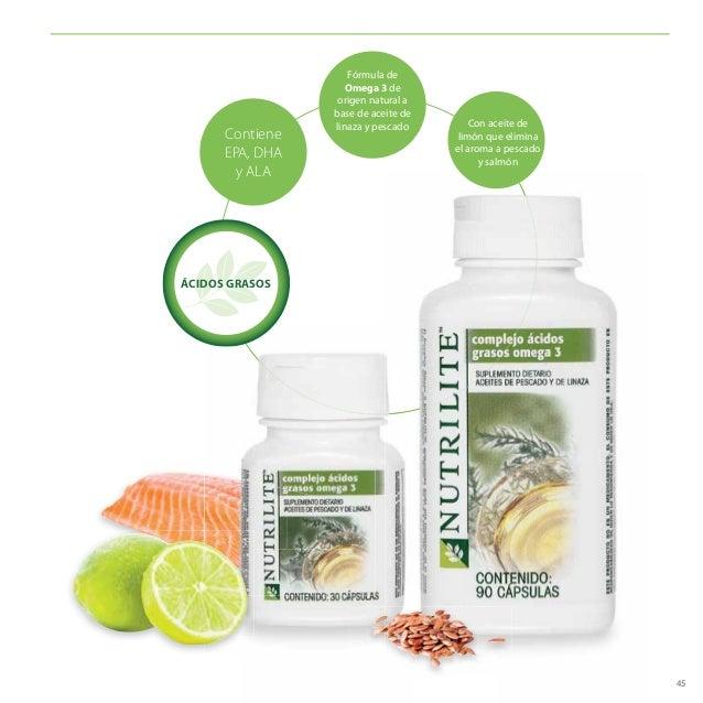 45 Contiene EPA, DHA y ALA Fórmula de Omega 3 de origen natural a base de aceite de linaza y pescado Con aceite de limón q...