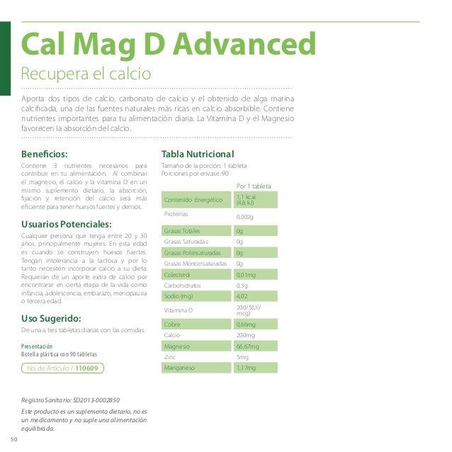 50 Aporta dos tipos de calcio, carbonato de calcio y el obtenido de alga marina calcificada, una de las fuentes naturales ...
