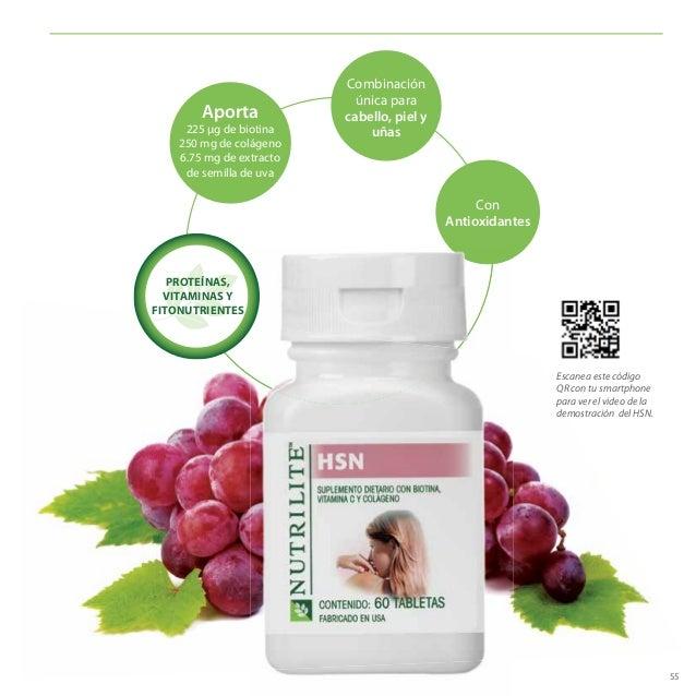 55 Aporta 225 μg de biotina 250 mg de colágeno 6.75 mg de extracto de semilla de uva Con Antioxidantes Combinación única p...