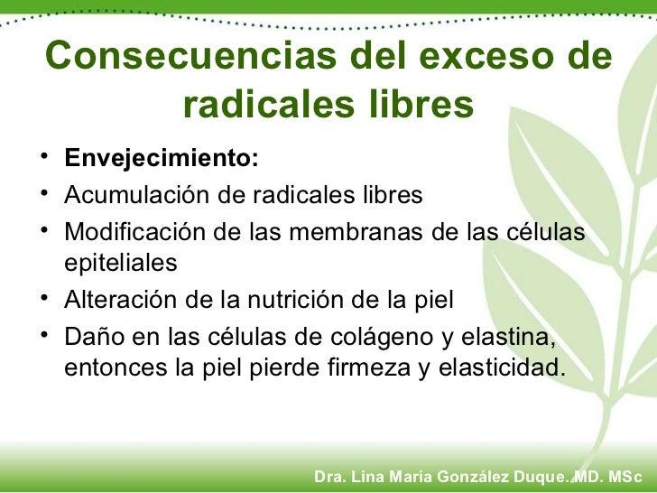 Consecuencias del exceso de radicales libres <ul><li>Envejecimiento: </li></ul><ul><li>Acumulación de radicales libres </l...