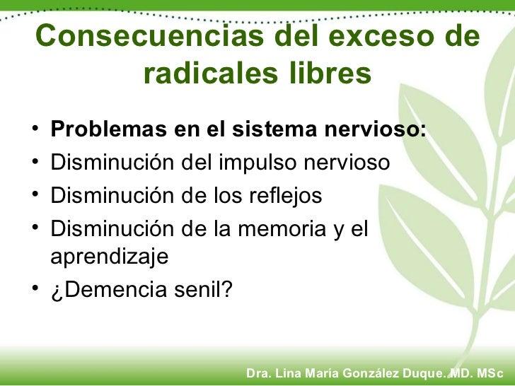 Consecuencias del exceso de radicales libres <ul><li>Problemas en el sistema nervioso:   </li></ul><ul><li>Disminución del...