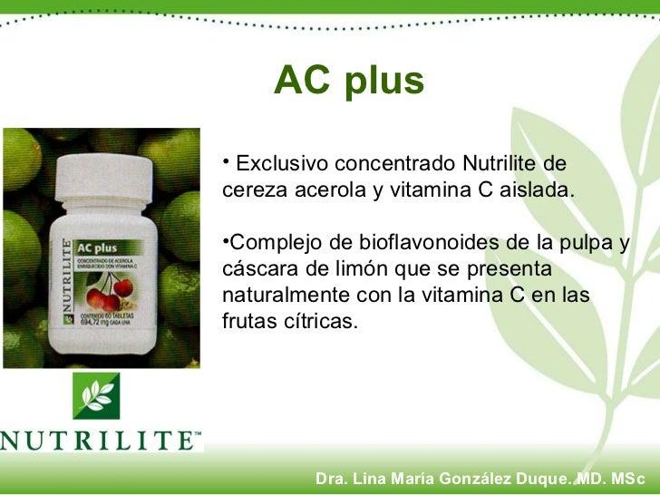 <ul><li>Exclusivo concentrado Nutrilite de cereza acerola y vitamina C aislada.  </li></ul><ul><li>Complejo de bioflavonoi...
