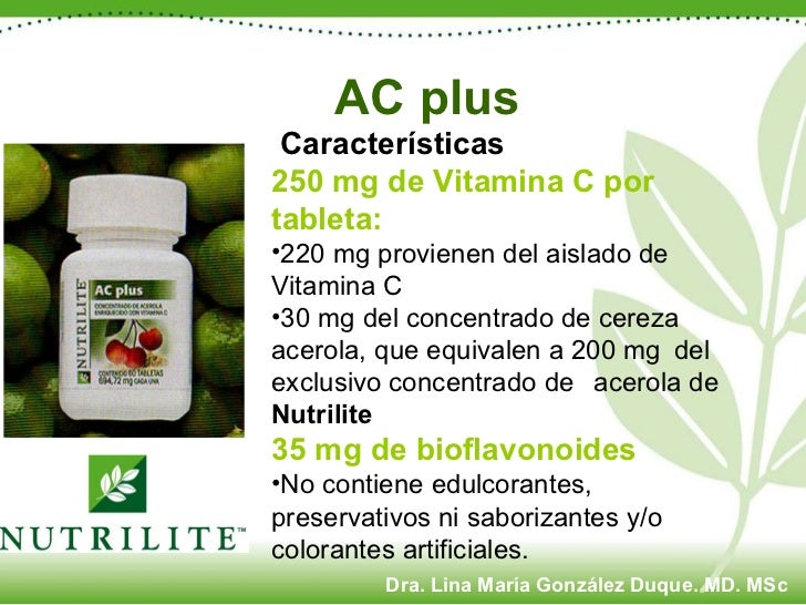 <ul><li>Características  </li></ul><ul><li>250 mg de Vitamina C por tableta:   </li></ul><ul><li>220 mg provienen del aisl...