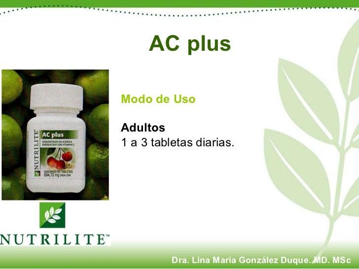 Modo de Uso Adultos 1 a 3 tabletas diarias. AC plus   Dra. Lina María González Duque. MD. MSc
