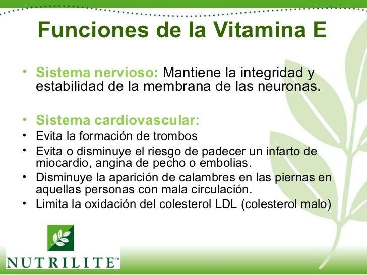 Funciones de la Vitamina E <ul><li>Sistema nervioso:   Mantiene la integridad y estabilidad de la membrana de las neuronas...