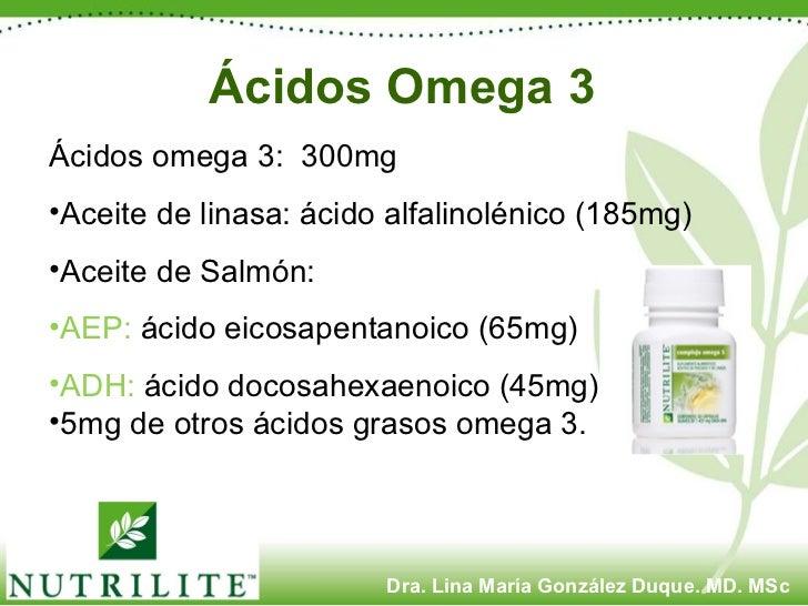 Ácidos Omega 3 <ul><li>Ácidos omega 3:  300mg </li></ul><ul><li>Aceite de linasa: ácido alfalinolénico (185mg) </li></ul><...