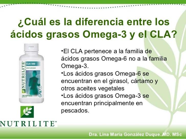 ¿Cuál es la diferencia entre los ácidos grasos Omega-3 y el CLA? <ul><li>El CLA pertenece a la familia de ácidos grasos Om...