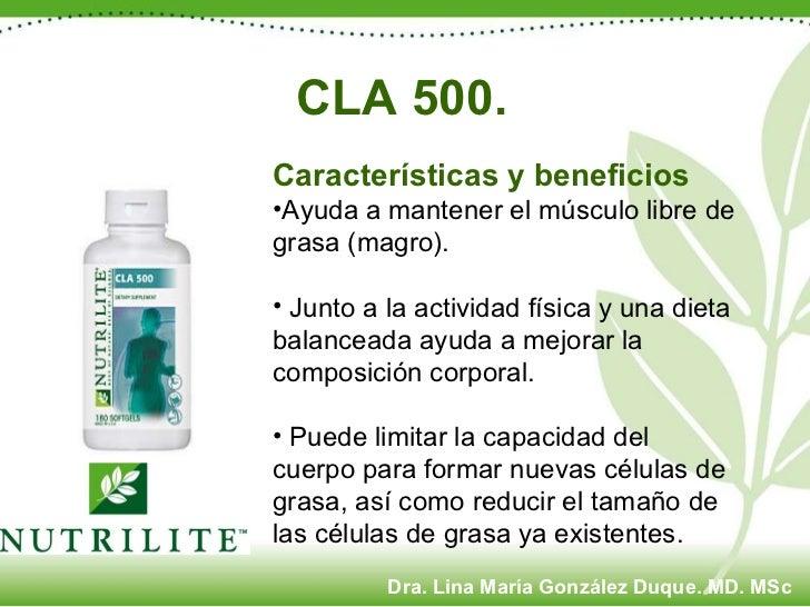 CLA 500. <ul><li>Características y beneficios  </li></ul><ul><li>Ayuda a mantener el músculo libre de grasa (magro). </li>...