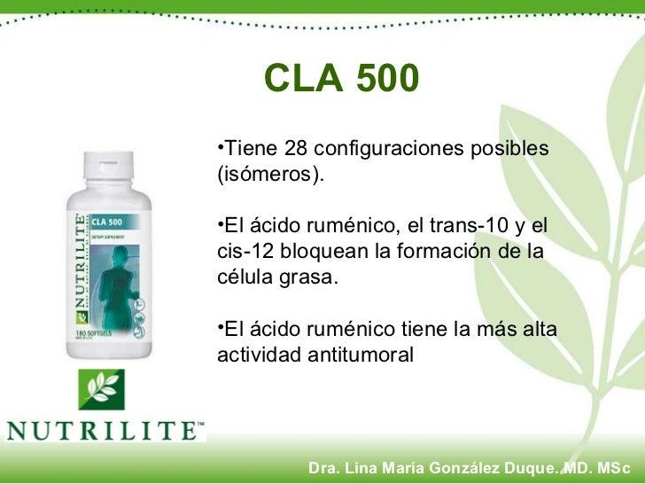 CLA 500   <ul><li>Tiene 28 configuraciones posibles (isómeros). </li></ul><ul><li>El ácido ruménico, el trans-10 y el  cis...