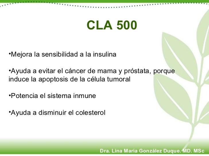 CLA 500 <ul><li>Mejora la sensibilidad a la insulina </li></ul><ul><li>Ayuda a evitar el cáncer de mama y próstata, porque...